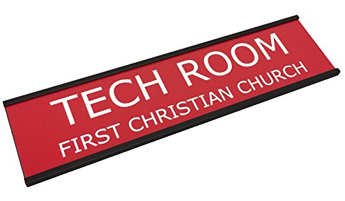 Personalized Name Plate With Wall or Office Desk Holder - red/white