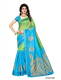 Shonaya Womens Blue & Green Colour Bhaglpuri Silk Printed Saree