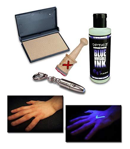Kit Ink Starter (Opticz UV Blacklight Reactive Invisible Blue Ink Hand Stamping Document Marking Security Kit (Starter Kit))