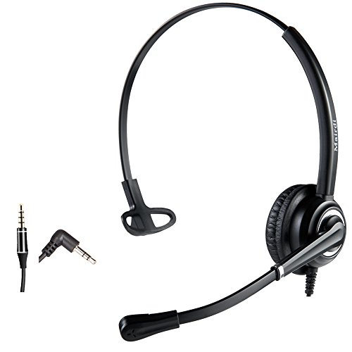 Phone Headset with 2.5mm Jack Noise Canceling Mic for Cisco Linksys SPA Polycom Grandstream Panasonic Zultys Gigaset and Other Cordless Dect Phones Including 3.5mm Connector for Cell Phone