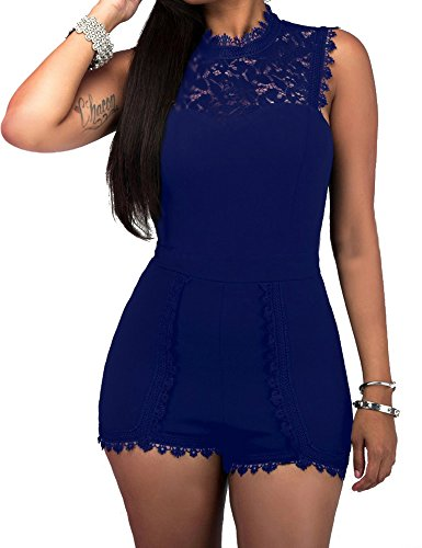 shekiss Lace Sexy Sleeveless Casual Bodycon Pants Short Rompers Jumpsuits Blue Juniors Outfits