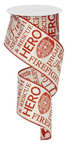 - Firefighter Fire Fighter Support Wired Ribbon :  White and Red : 2.5 Inches x 10 Yards (30 feet) : RG01593