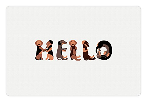 Ambesonne Dachshund Pet Mat for Food and Water, Dachshund Puppies Spelling The Word Hello Animal Font Design, Rectangle Non-Slip Rubber Mat for Dogs and Cats, Brown Caramel Taupe
