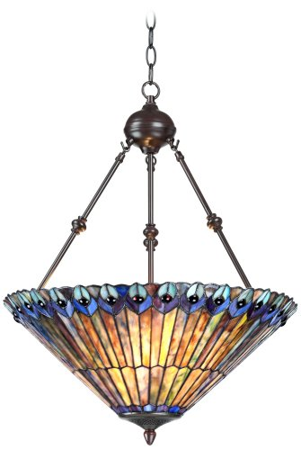 Peacock Glass 3-Light 20