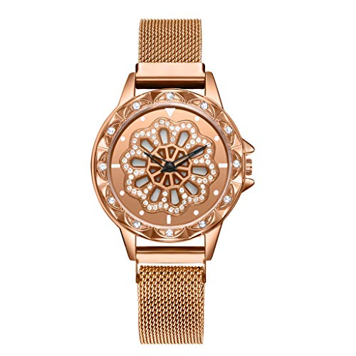 (LUXISDE Watch Women360 Degree Rotating Fashion Diamond Dial to Run Ladies Quartz Mesh Belt Watch Rosegold)