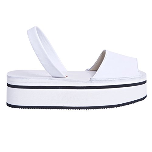 Minorquines-Sandalias Avarca Creepers tenis para mujer, diseño de rayas, color negro Blanco - blanco