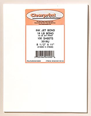 Clearprint 3018IJ Translucent Bond Paper, 18 lb., 8-1/2 Inches x 11 Inches, 100 Sheets Per Pack, 1 Pack (32201510)