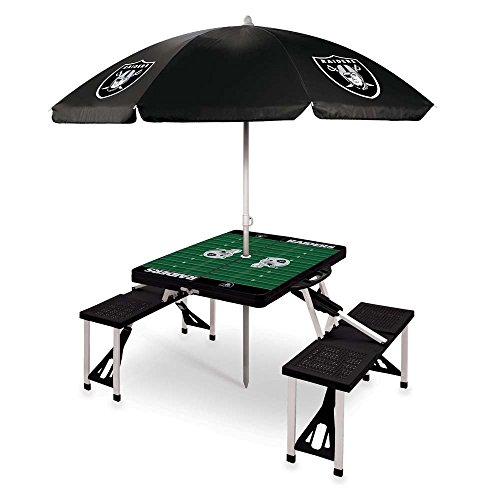 - NFL Oakland Raiders Picnic Table Sport with Umbrella Digital Print, One Size, Black