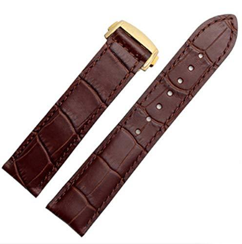 19mm/20mm/22mm Black/Brown Leather Watch Band Strap Deployment Fold Buckle Fits for Omega [SpeedMaster] [Seamaster] [De Ville] (20mm, Brown(Gold Buckle))