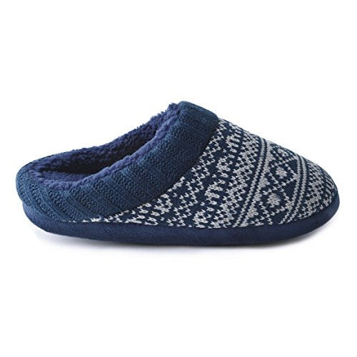 Universaltextilien Crochet Herren Slipper Fairisle Blau