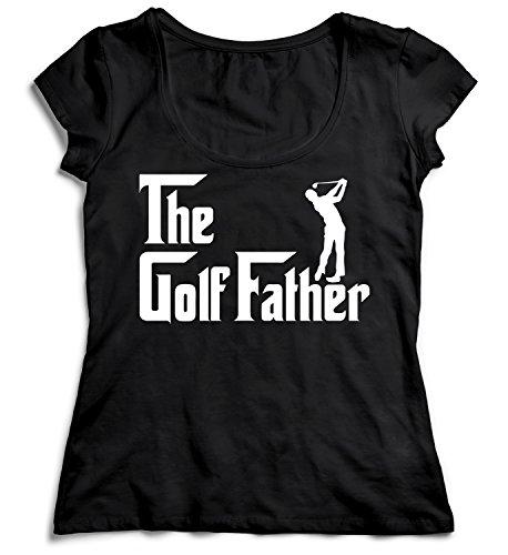 - MYMERCHANDISE The Golf Father Golf Player T-Shirt Black Women 100% Cotton Womens MD Women Shirt