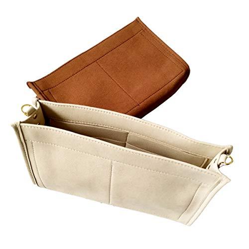 Purse Organizer Insert Fit LV Toiletry Pouch 26 Handbag Shaper Premium Felt with Gold Buckles, Light Khaki (LV Toiletry Pouch 26, Light Khaki)