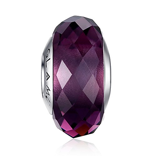 Glamulet Jewelry - Dark Purple Rhombic Facets Murano Glass Beads Charm -- 925 Sterling Silver -