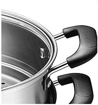 Cuiseur vapeur en acier inoxydable, casserole à vapeur en acier inoxydable, grande couche multicouche multicouche épaisse, 2 couches gaz/électromagnétique universel