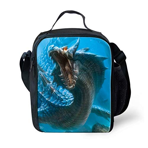 Dragon Print Lunchbox Bags for Kids Toddlers Outdoor Zoo Picnic School Bag ()