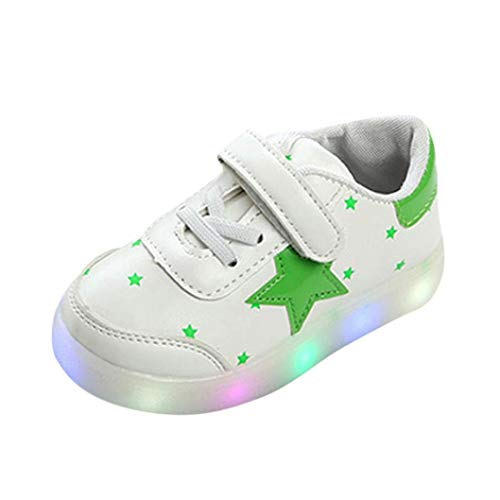 (Fineser TM Kids Boys Girls LED Light Up Shoes Toddler Baby Fashion Casual colorful Light Sneakers (Age:2.5-3T/US:7, Green))