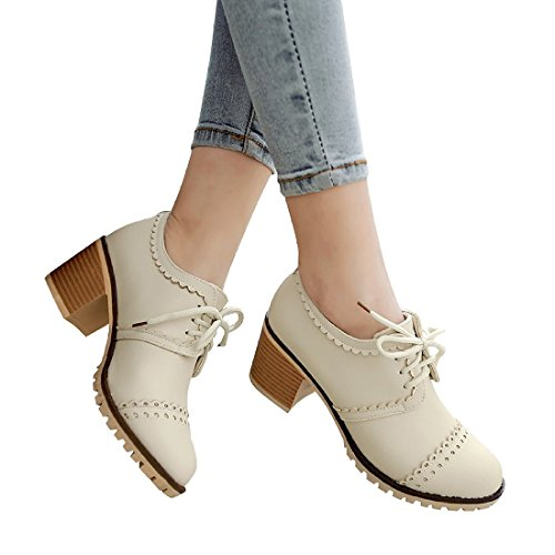 Sexy Wingtip Shoes (Susanny Classic Retro Pu Oxfords Brogue Shoes Women's Mid-heel Wingtip Lace Up Dress Beige Shoes 4 B (M) US)