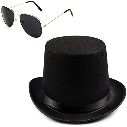 (Funny Party Hats Black Guitar Player Costume Accessory Felt Top Hat-Aviator Sunglasses)