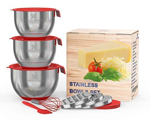 - LUXURY SET for Smart Chefs,3 Premium Thick Grade STAINLESS STEEL MIXING BOWLS With Airtight Lids For Healthy Meal,Non-Slip Surface,3 Assorted Grater Attachments,Stackable For Minimal Storage&Gift Pack