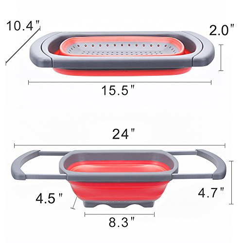 Glotoch Kitchen Collapsible Colander, Over The Sink Strainer With Steady Base For Standing, 6-quart Capacity, Dishwasher-Safe,BPA Free (Red&Grey) by Glotoch Express (Image #4)