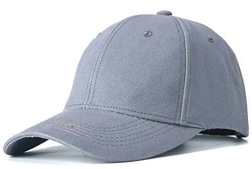 otton Adjustable Washed Twill Low Profile Plain Baseball Cap Hat(Light Gray) (Gray Mens Baseball)