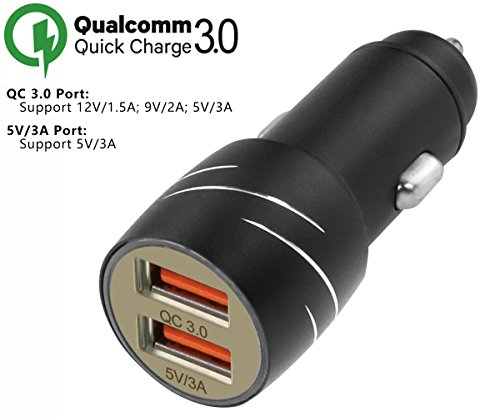 [Qualcomm Certified] Aukey Quick Charge 2.0 30W 2 Ports USB Car Charger Adapter(AIPower 5V/2.4A+Quick Charge 12V/1.5A 9V/2A...