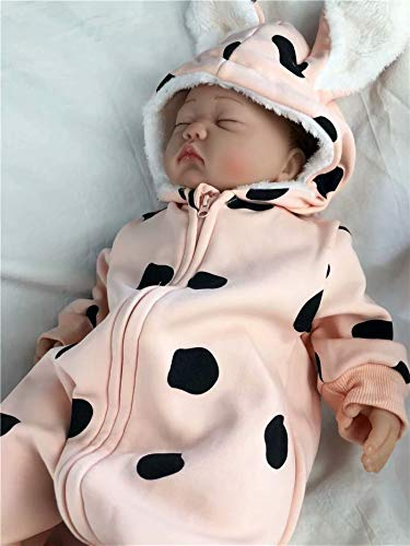 JELLYKIDS Baby Rabbit Ear Romper Newborn Baby Girl Long Sleeve Zipper Hooded Winter Warm Romper Jumpsuit Outfits