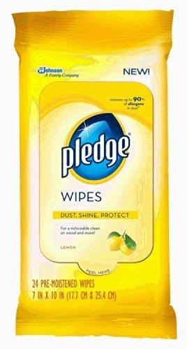 Pledge Lemon Wipes, 24 Count (Pack of 4)
