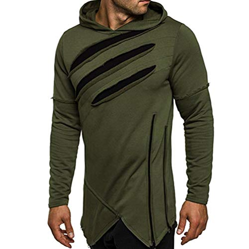 Faionny Mens Hole Hoodies Solid Blouse Long Sleeve Sweatshirt Casual Tops Jacket Loose Coat Outwear by Faionny