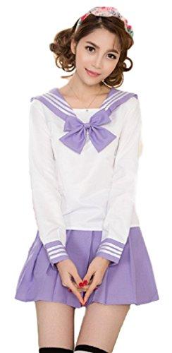 GK-O 5 Colors Japanese School Girl Long Sleeve Sailor Uniform Cosplay Costumes Dress Suit (X-Large, Purple)