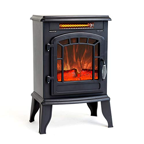 FLAME&SHADE Electric Wood Stove Fireplace Heater - Freestanding - Height 23in (With Heater Fireplace Electric)