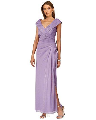 - Alex Evenings Womens Sleeveless Full-Length Evening Dress Purple 12