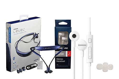 Samsung Level U Bluetooth Headset - HD Sound - with Samsung Headset 3.5mm Jack Universal with Extra Ear Gel (Retail Packing) (Samsung Galaxy Gear Circle)