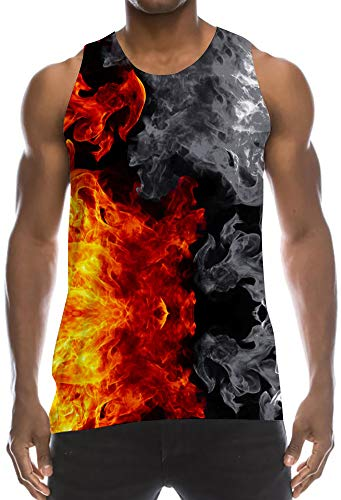 Graphic Print Vintage Tanktops Sleeveless Mesh Athletic Tank Top Undershirt Yellow Red Orange Black Grey Tan Firework Smoke Novelty Cut Off Vest Tops for Party Festivities Vacations