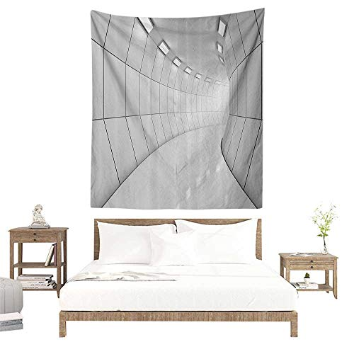 alisoso Wall Tapestries Hippie,Apartment Decor Collection,Modern Illuminated Long Corridor Geometric Futuristic Tunnel Monochromic Artwork Print,G W70 x L93 inch Tapestry Wallpaper Home Decor (Tapestries Collection Modern)