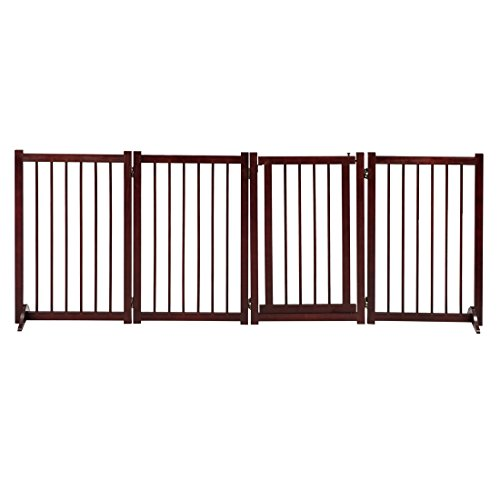GOOD LIFE 81 Inch Wooden Pet Gate with Walk Through Door Adjustable Freestanding Fence Folding Dog Gate 4 Panel Coffee Color PET343 by GOOD LIFE USA (Image #1)