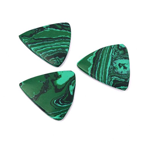 s 3 Pcs Stone Tones Semi Hard Luxury Guitar Pick Malachite Design ()