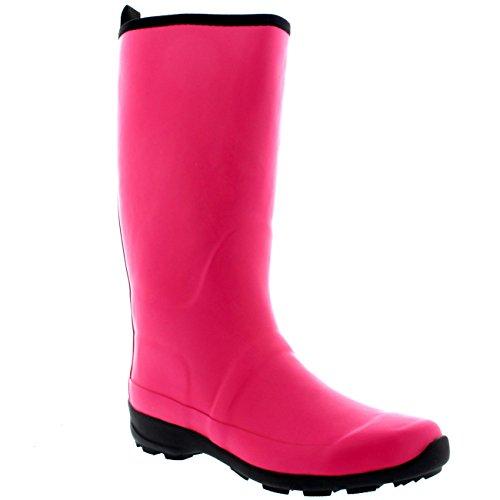 Polar Products Damen Kontrast Sohle Hohe Gummi Muck Winter Schnee Outdoor Gummistiefel Stiefel Dark Fushia