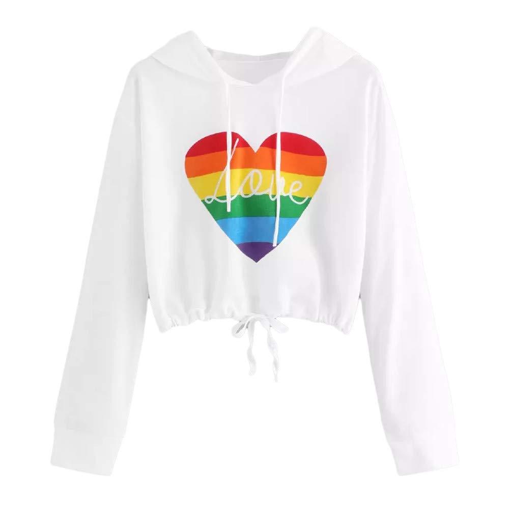 Rambling Fashion Women Casual Rainbow Heart Printed Crop Hoodie Sweatshirt Loose Long Sleeve Top