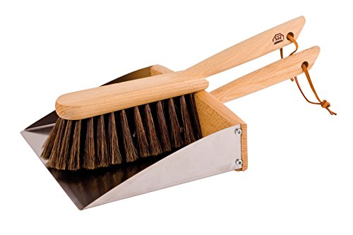 Bürstenhaus Redecker Horsehair Hand Brush and Dust Pan Set with Oiled Beechwood Handles with Magnet, 14-1/8-Inches Hands Magnet