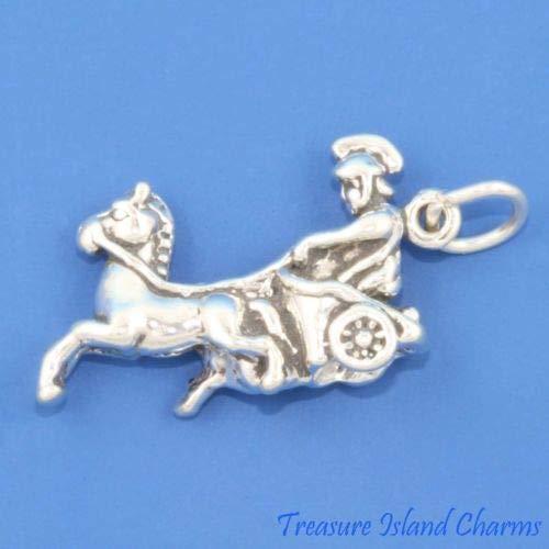Solid Sterling Silver Golf - Roman Greek Horse Chariot 3D 925 Solid Sterling Silver Charm Crafting Key Chain Bracelet Necklace Jewelry Accessories Pendants