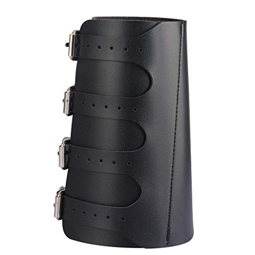 Holattio Mens Black Faux Leather Metal Arm Guards Medieval Bracers
