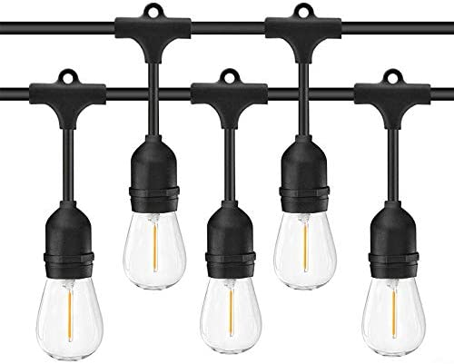 Bomcosy Led Outdoor String Lights,100FT with 30pcs E26 Socket,30 2pcs Shatterpoof S14 Edison Bulbs,1 Watt Dimmable 2700K, IP65 Waterproof, Commercial Grade Patio Lights