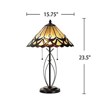 """Cloud Mountain Tiffany Style 15.75"""" Lampshade Amber Table Lamp Victorian Jeweled Stained Glass Desk Lamp Home Decor Lighting"""