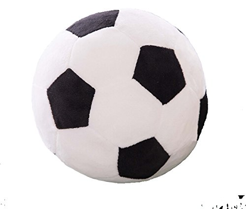 Stuffed Short Plush Soft Soccer Ball Cushion Football Decorative Pillow Toy for Kids (Black-White, -