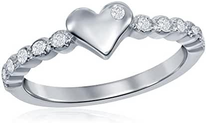 Baby And Girls 925 Sterling Silver Cubic Zirconia Love Heart Cute Ring Size 3' 4' 5