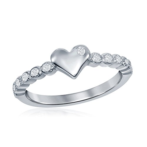 terling Silver Cubic Zirconia Love Heart Cute Ring Size 3' 4' 5 (Heart Childrens Ring Jewelry)