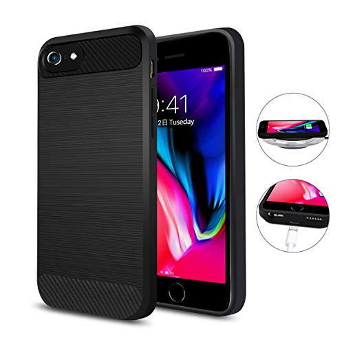 Qi Wireless Charging Case iPhone 7/6S/6, ANGELIOX Wireless Charger Charging Receiver Back Cover,Soft TPU Protective Case,Brushed Surface Finish Cable Charging Port(No Battery-4.7