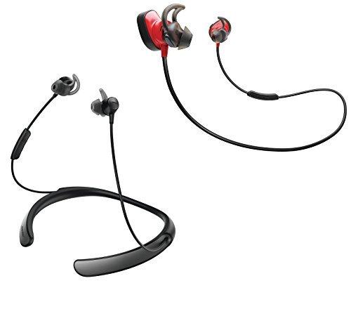 Bose Bluetooth Headphone Bundle - SoundSport Wireless Pulse Red & QuietControl 30 Black In-ear Headphones