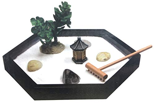 Garden with Pavilion, Rocks, Rake, Sand and Succulent Plastic Plant ()